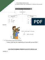 Pronombres Personales Fichas y Ejercicios