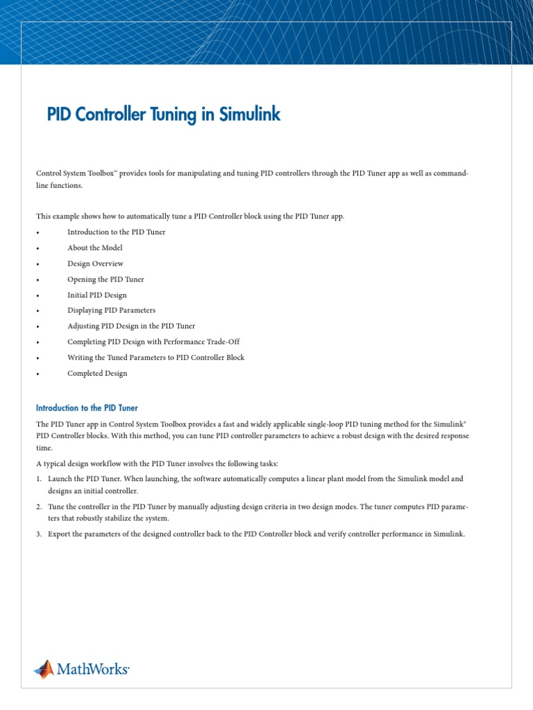 86589 Pid Controller Tuning in Simulink   Control Theory