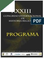 Programa XXXIII Congreso Internacional de Historia Regional Final Ponentes