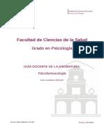 Guia Docente 319162202 - Psicofarmacologia - Curso 1617