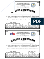 VALUES EDUCATION INSET Certificate of Participation