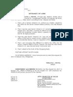 Affidavit of Loss- Senior Citizen's I.D.