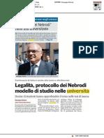 Protocollo dei Nebrodi modello di studio nelle università - La Gazzetta del Sud del 17 novembre 2017