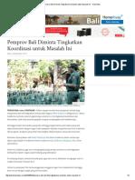 60. Pemprov Bali Diminta Tingkatkan Koordinasi Untuk Masalah Ini - Tribun Bali
