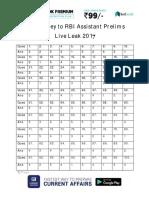 Answer Key to RBI Assistant Prelims Live Leak 2017 PDF