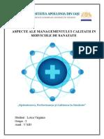 Aspecte Ale Managementului Calitatii În Serviciile de Sanatate