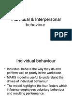 Individual & Interpersonal behaviour session 11