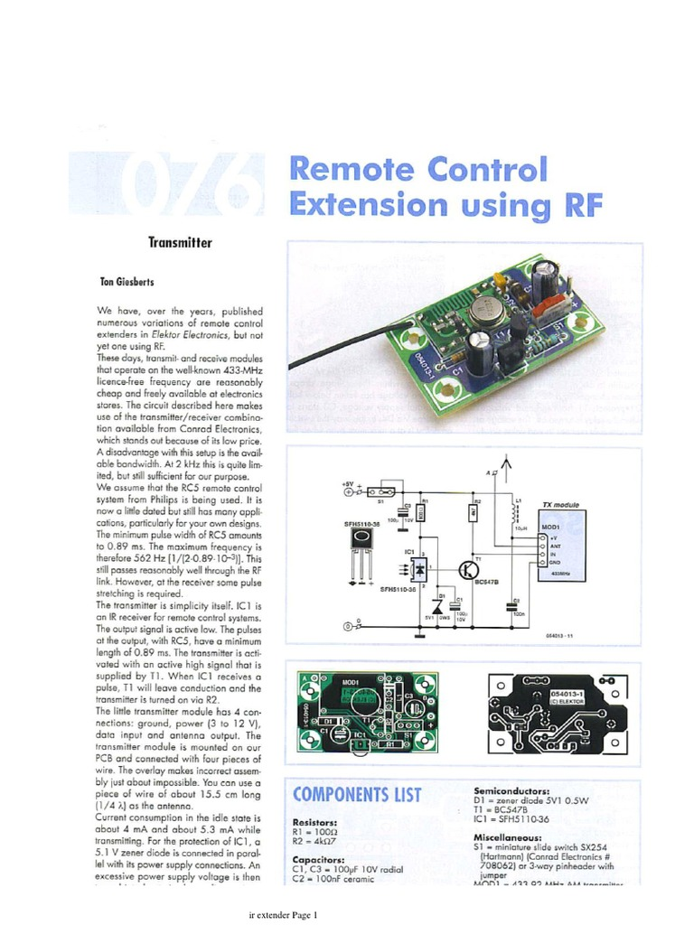 Ir Extender Repeater Circuit Electronic Components