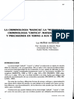 MUNOZ GONZALES, LUIS - La Criminologia Radical La Nueva y La Criminologia Critica Matizaciones y Precisiones en Torno a Sus Nombres