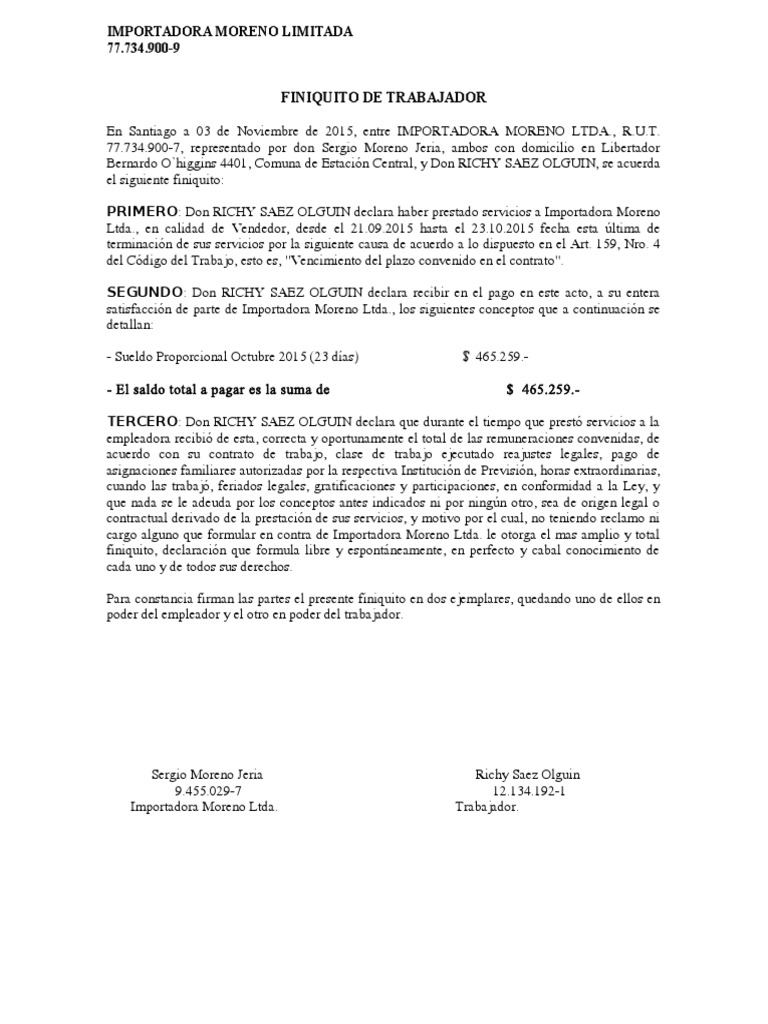 Formato Finiquito Termino De Contrato Plazo Fijo Instituciones Sociales Ciencias Sociales