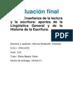 Evaluación de Especialización Docente de Nivel Superior en Alfabetización Inicial
