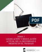 TEMA 1. LEGISLACIÓN Y REGULACIÓN ACTUAL DE LA SEGURIDAD E HIGIENE EN EL TRABAJO