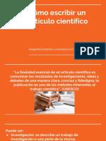 Cómo Escribir Un Artículo Científico