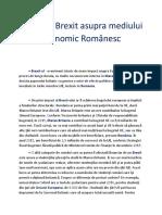 Impactul Brexit Asupra Mediului Economic Românesc
