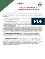 3 Causas Internas de La Independencia de América