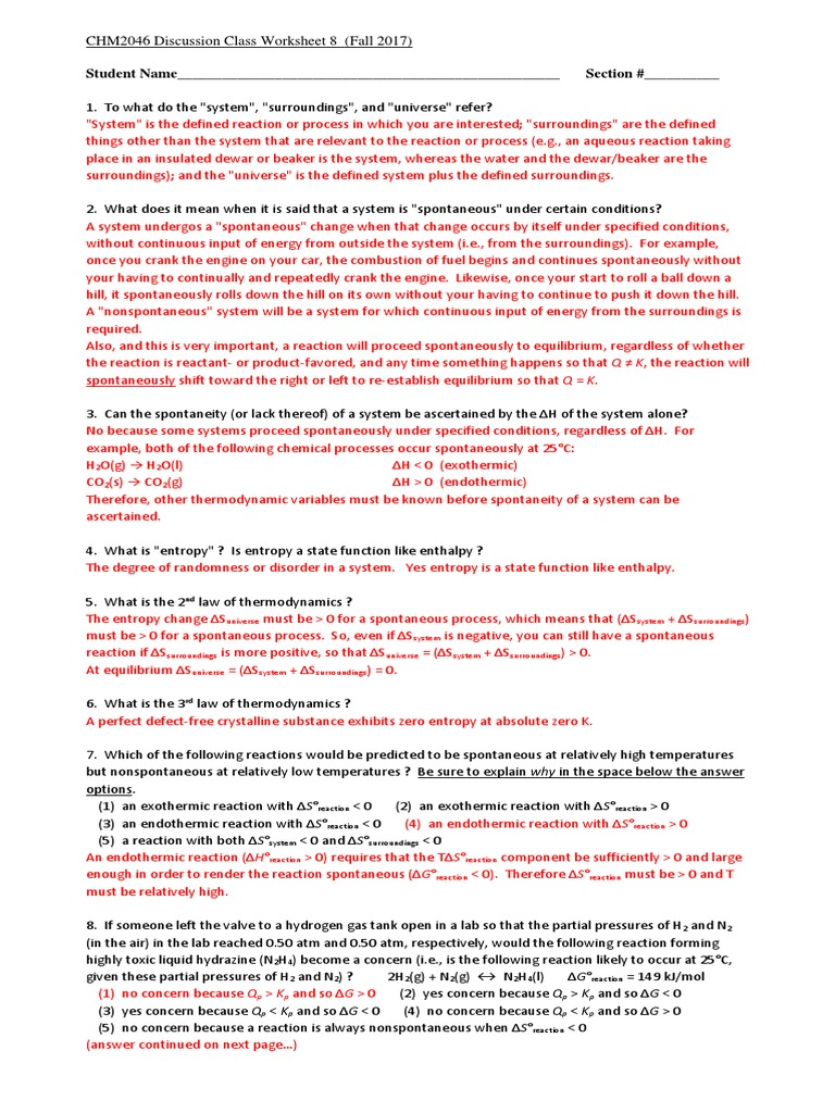 Worksheet 8 (Thermodynamics) With Answers   Entropy   Gibbs ...