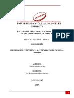 Monografia Jurisdicciòn, Compentencia y Comparecencia Procesal Laboral