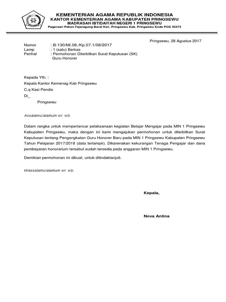 Contoh Surat Permohonan Guru Ke Dinas Pendidikan - Berbagi ...