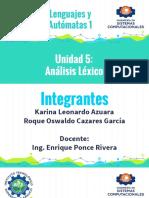 Lenguajes y Automatas 1 Unidad 5 Tema 5.1 Funciones de analizador lexico.
