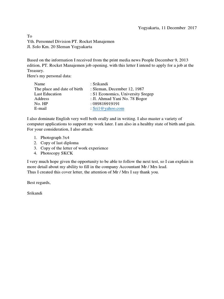 Contoh Surat Lamaran Kerja Menggunakan Bahasa Inggris