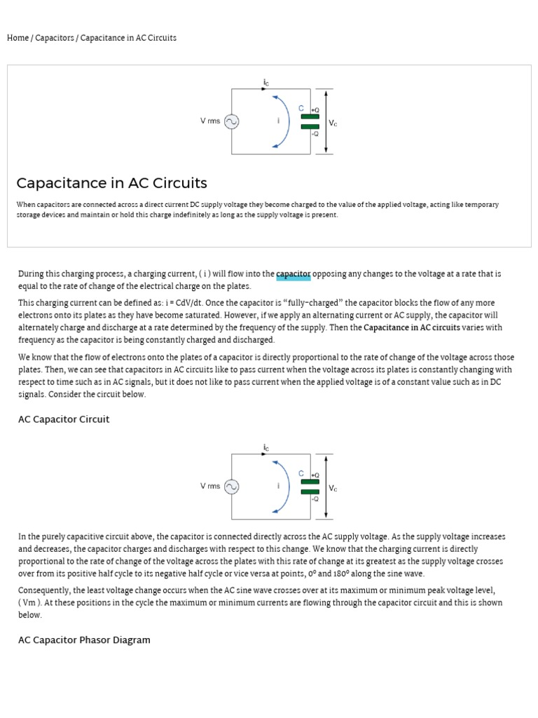Capacitance In Ac Circuit And Capacitive Reactance Capacitor Dc To Electrical Resistance Conductance