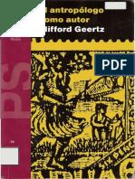 Clifford Geertz - El Antropólogo Como Autor, Edit. Paidós 84 Pags