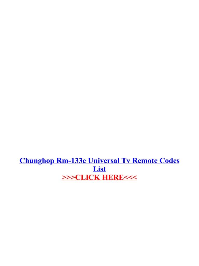 Chunghop Rm 133e Universal Tv Remote Codes List | Display