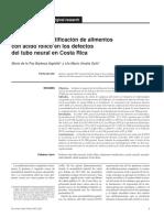 Impacto de La Fortificación de Alimentos Con Acido Folico en Los Defectos Del Tubo Neural en CR
