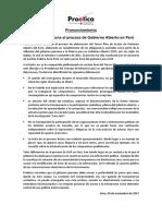 PRONUNCIAMIENTO- Proética Cuestiona El Proceso de Gobierno Abierto en Perú