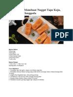Resep Cara Membuat Nugget Tape Keju