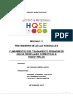 Tratamiento Primario de Agua Residual Domestico e Industrial