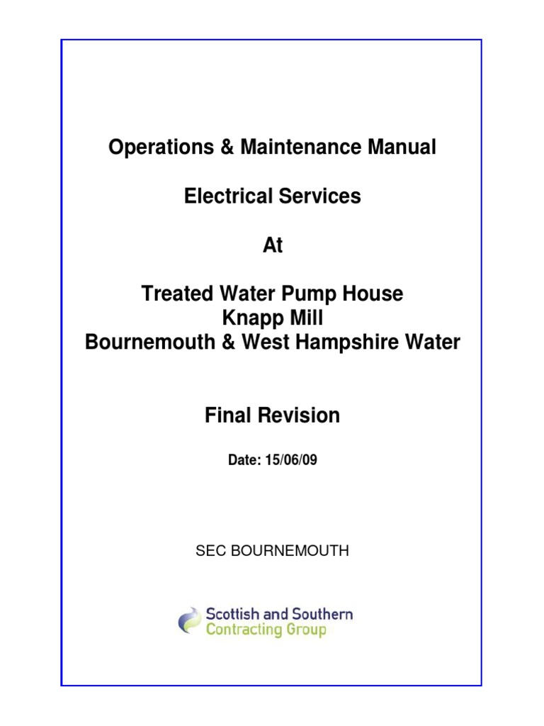 knapp mill wtw treated water pump house hv supply o m manual