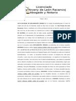 Acta Notarial Declaracion Jurada Propiedad Inmueble