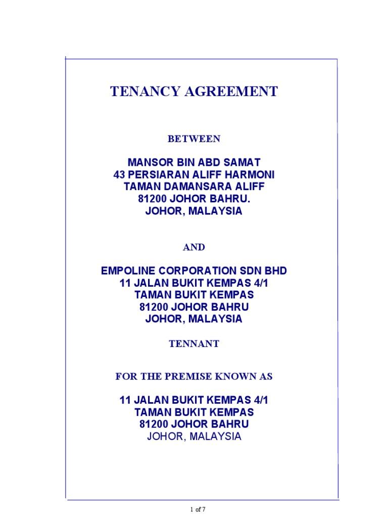 Format Tenancy Agreement | Leasehold Estate | Landlord  Landlord Agreement Template