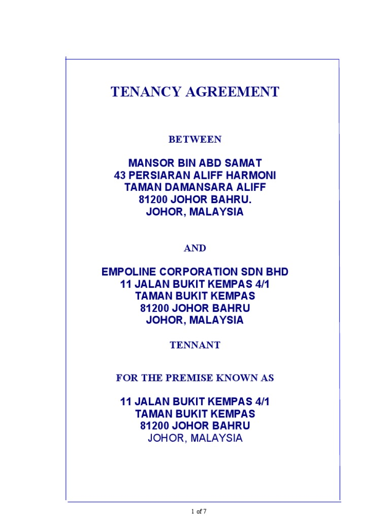 Format Tenancy Agreement | Leasehold Estate | Landlord