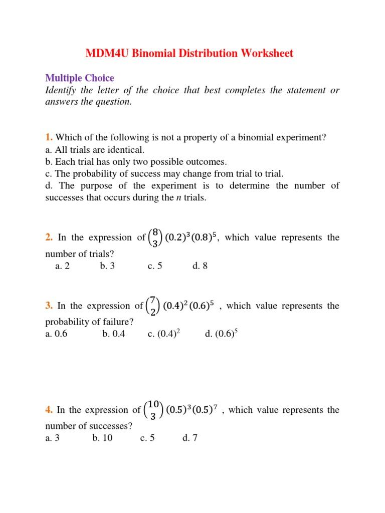 MDM4U Binomial Distributions Worksheet   Valor Esperado ...