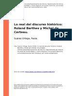 Suarez Ortega, Paola (2009). Lo Real Del Discurso Historico Roland Barthes y Michel de Certeau
