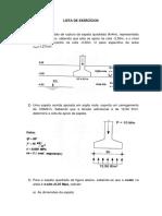 Lista de Exercícios Capacidade de Carga de sapatas