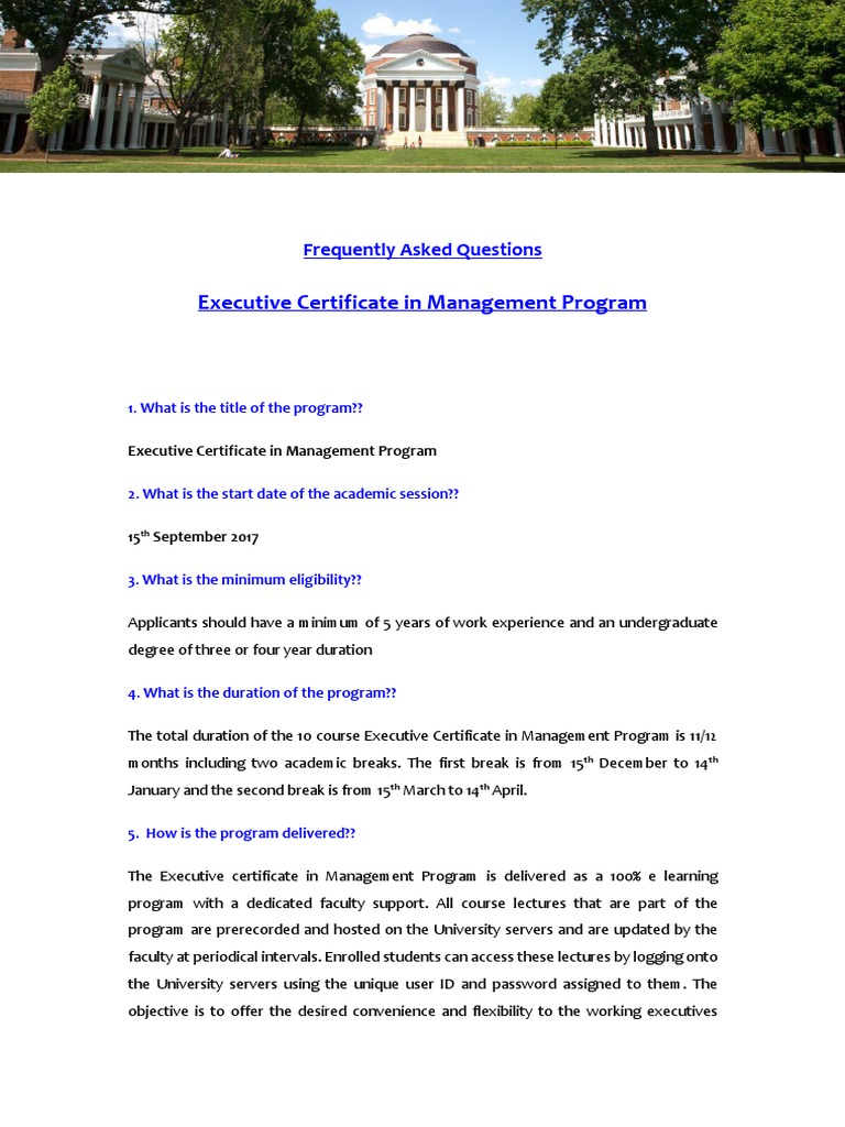 Faq Master Of Business Administration Educational Assessment