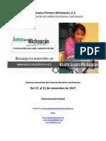 Síntesis Educativa Semanal de Michoacán del 21.11.2017