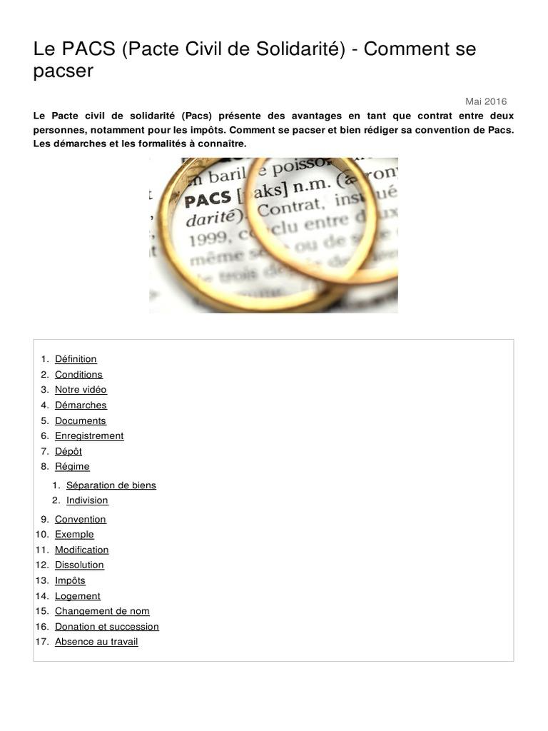 Le Pacs Pacte Civil De Solidarite Comment Se Pacser 1042 O7hkr5