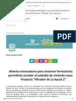 """Abierta Convocatoria Para Reclamar Form...a Del Proyecto """"Mirador de La Ayurá 2"""""""