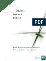Lectura 1 - Introducción Al Mundo de La Formulación y Evaluación de Proyectos de Inversión