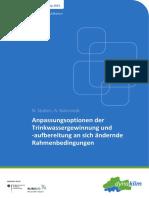 Nr. 53 Sept 2014 Anpassungsoptionen Der Trinkwassergewinnung Und -Aufbereitung an Sich Ändernde Rahmenbedingungen Aktivität A4.1.2 Im BMBF-Verbundprojekt Dynaklim