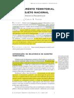 Planejamento Territorial e Projeto Nacional