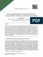 Impacto Ambiental de Los Metales Derivados de Las Actividades Mineras Procesos, Predicciones, Prevención