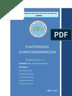 Evaporacion e Infiltracion