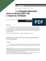 São Paulo e a Ideologia Higienista Entre os Séculos XIX e XX