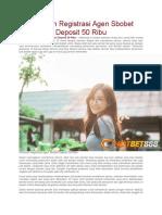 Panduan Registrasi Agen Sbobet Deposit 50 Ribu