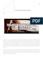 Taxation Law 2017 Bar Exam Questions